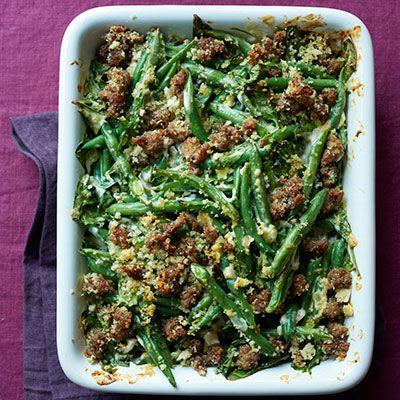 green bean casserole with crispy sausage