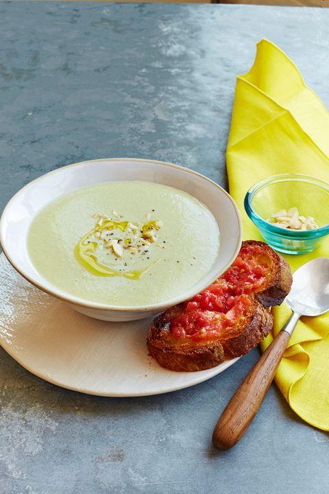 white gazpacho with tomato toasts