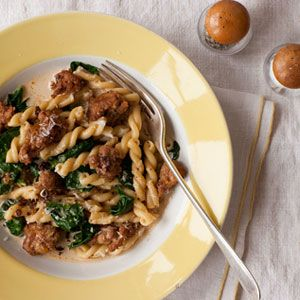 gemelli with spicy sausage and spinach