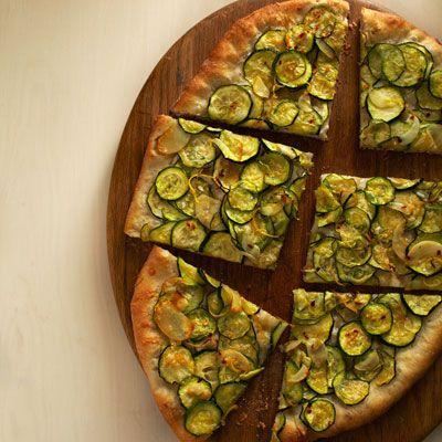 lemony zucchini fresh garlic and parmesan pizza
