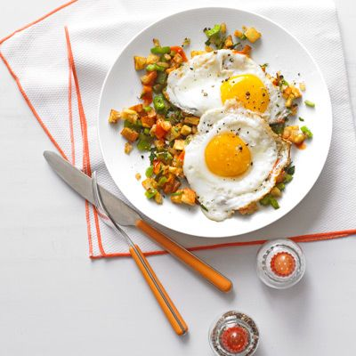 southwestern hash and fried eggs