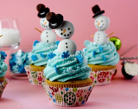 snowman christmas cupcakes