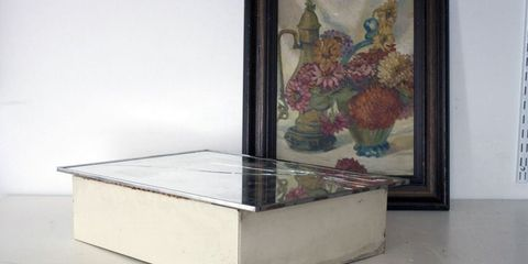 Art, Grey, Rectangle, Picture frame, Transparent material, Visual arts, Artwork, Fruit, Painting, Silver,
