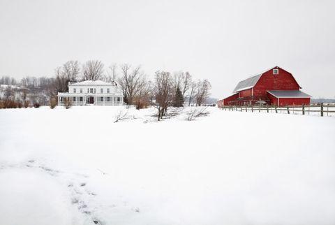 Winter, Property, House, Slope, Landscape, Roof, Freezing, Snow, Home, Land lot,