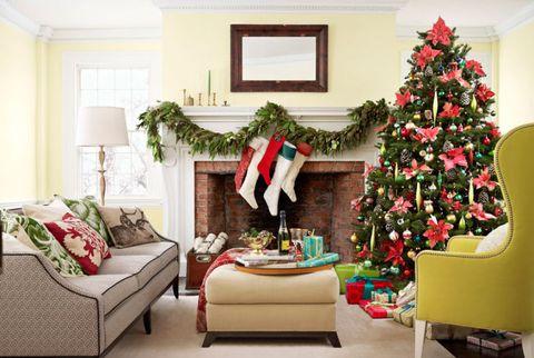 stockings garland christmas mantel