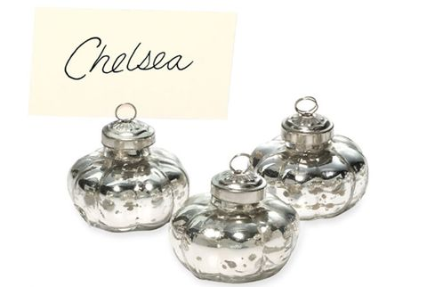 silver balled placecard holders