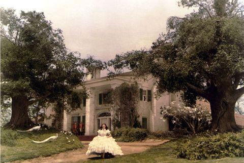 Plant, Dress, Tree, House, Gown, Garden, Bride, Bridal clothing, Wedding dress, Mansion,