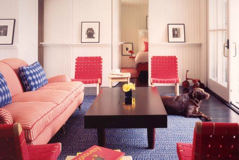 Room, Interior design, Wood, Floor, Flooring, Home, Living room, Furniture, Red, Table,