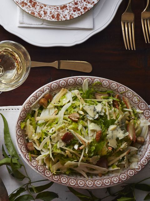 shaved brussels sprout-and-chestnut salad