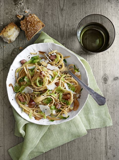 pancetta and brussels sprouts linguini