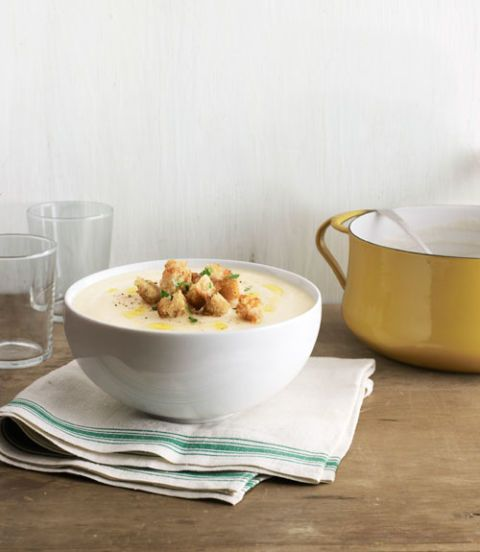 celery root soup with truffled croutons