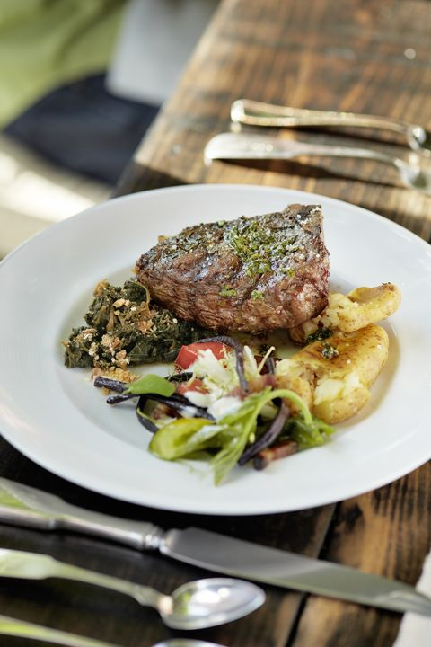 grilled bone in bison steaks with crisped potatoes