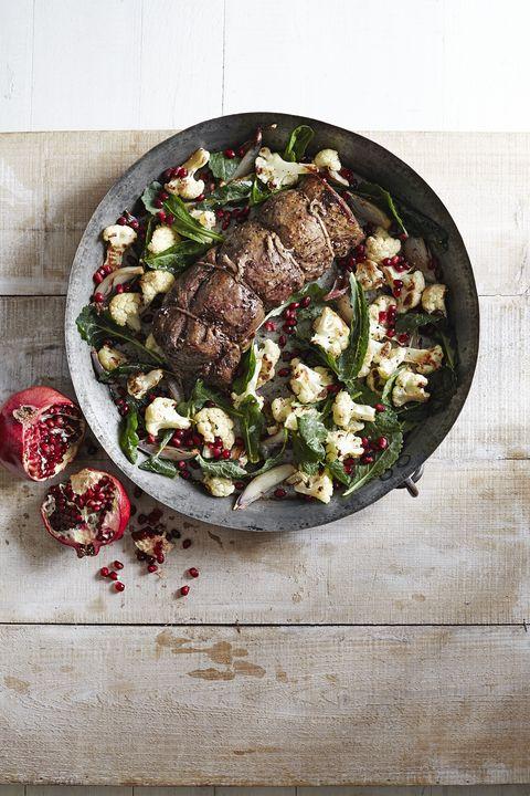 beef tenderloin with roasted cauliflower pomegranate salad