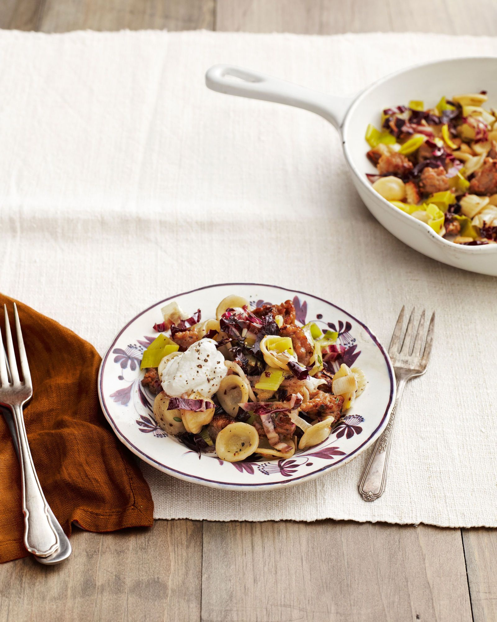 orecchiette with sausage and radicchio