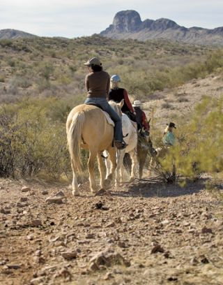 group of women on horses on a desert trail