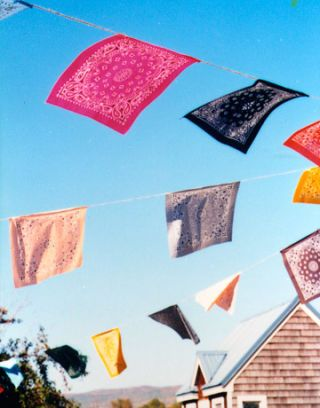 colorful bandanna decorations on clotheslines