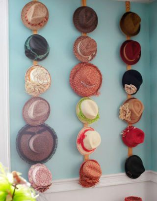 hats hanging on wall