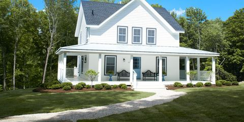 Plant, House, Property, Residential area, Home, Real estate, Land lot, Roof, Building, Siding,