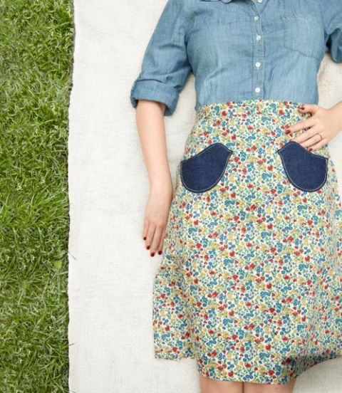 denim bird patches on skirt