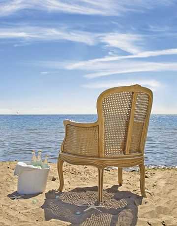 antique chair on beach