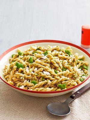 fava bean pasta salad with garlic scape pesto