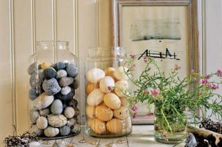 two glass specimen jars filled with eggs and pebbles on display
