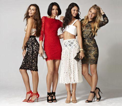 Clothing, Leg, Shoulder, Human leg, Red, Joint, Waist, Dress, Style, Pattern,