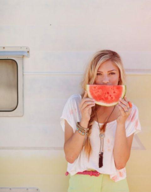 Meisje watermeloen