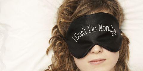 vrouw slapen i don't do mornings oogmasker