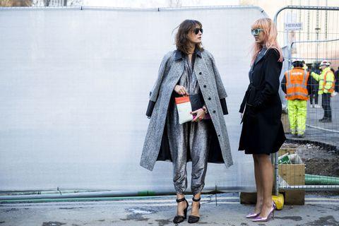 Clothing, Footwear, Leg, Coat, Textile, Outerwear, Bag, Style, Street fashion, Street,