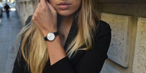 Finger, Wrist, Hand, Fashion accessory, Watch, Fashion, Black, Beauty, Analog watch, Metal,