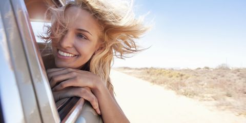 Hair, Photograph, Blond, Beauty, Hairstyle, Smile, Vehicle door, Summer, Photography, Surfer hair,