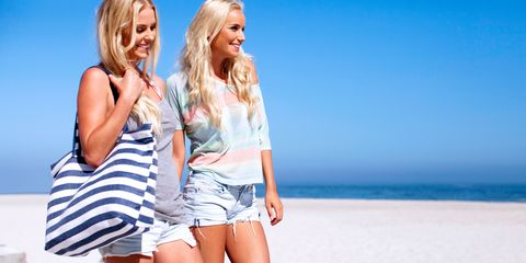 Mouth, Human leg, People on beach, Happy, Denim, Summer, People in nature, Shorts, Vacation, Thigh,