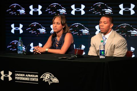Running back Ray Rice of the Baltimore Ravens addresses a news conference with his wife Janay at the Ravens training center.