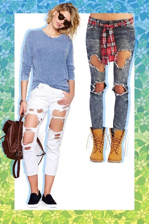 Footwear, Leg, Brown, Human leg, Textile, Joint, Denim, White, Style, Knee,