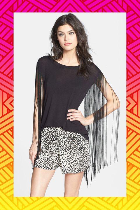 Yellow, Sleeve, Shoulder, Pattern, Style, Black hair, Fashion model, Thigh, Street fashion, Fashion,