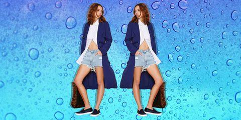 Denim, Outerwear, Style, Aqua, Pattern, Electric blue, Thigh, Turquoise, Street fashion, Bag,