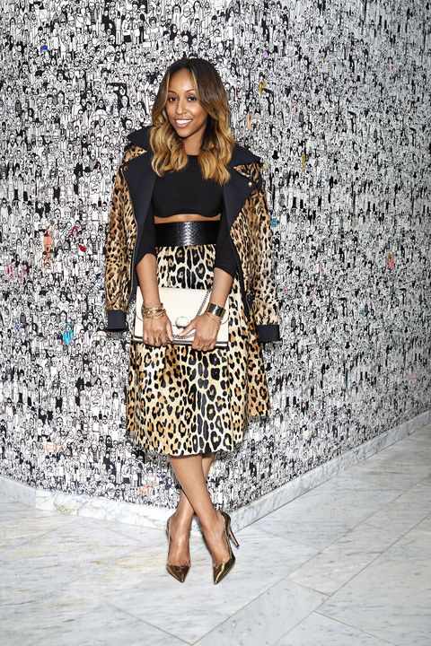 """<p>""""Don't be shy about wearing animal prints. Double up with a spotted coat and skirt, and go neutral everywhere else."""" -Shiona Turini, market director (Instagram: <a href=""""http://www.instagram.com/shionat"""" target=""""new"""">@shionat</a>)</p> <p>Jacket, Alexandre Vauthier, Just One Eye, 888-563-6858. Top, Shiona's own. Skirt, belt, Sportmax, $395, Sportmax, New York, 212-674-1817. Shoes, Aquazzura, Saks Fifth Avenue</p>"""