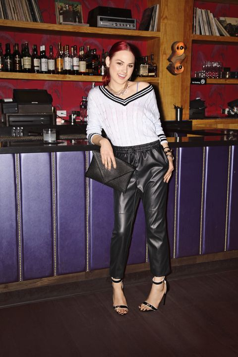 """<p>""""Stash a pair of leather pants at your desk. They add edge to anything, especially preppy knits."""" -Hannah Bibb, fashion assistant</p><p>Pants, H&M, $34.95, <a href=""""http://www.hm.com"""" target=""""new"""">hm.com</a>. Clutch, Shop Prima Donna, $29.99, <a href=""""http://www.shopprimadonna.com"""" target=""""new"""">shopprimadonna.com</a>. Earrings, $3.80, necklace, $5.80, Forever 21, <a href=""""http://www.forever21.com"""" target=""""new"""">forever21.com</a>. All other jewelry, Hannah's own</p>"""