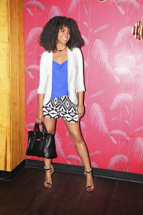 """<p>""""Lightweight graphic shorts are perfect for easy, quick changes ... and showing off some leg."""" -Tchesmeni Leonard, fashion assistant</p><p>Shorts, Tyche, $26, <a href=""""http://www.vinnielouise.com"""" target=""""new"""">vinnielouise.com</a>. Necklace, bracelet, $5.80 each, Forever 21, <a href=""""http://www.forever21.com"""" target=""""new"""">forever21.com</a></p>"""