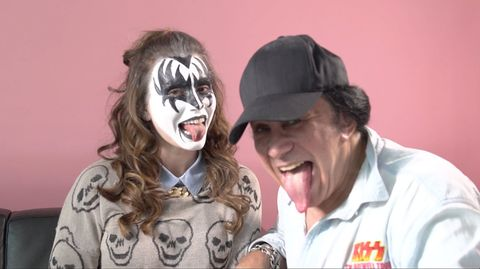 Beauty Tutorial: Watch Gene Simmons Put Iconic KISS Makeup on His Daughter