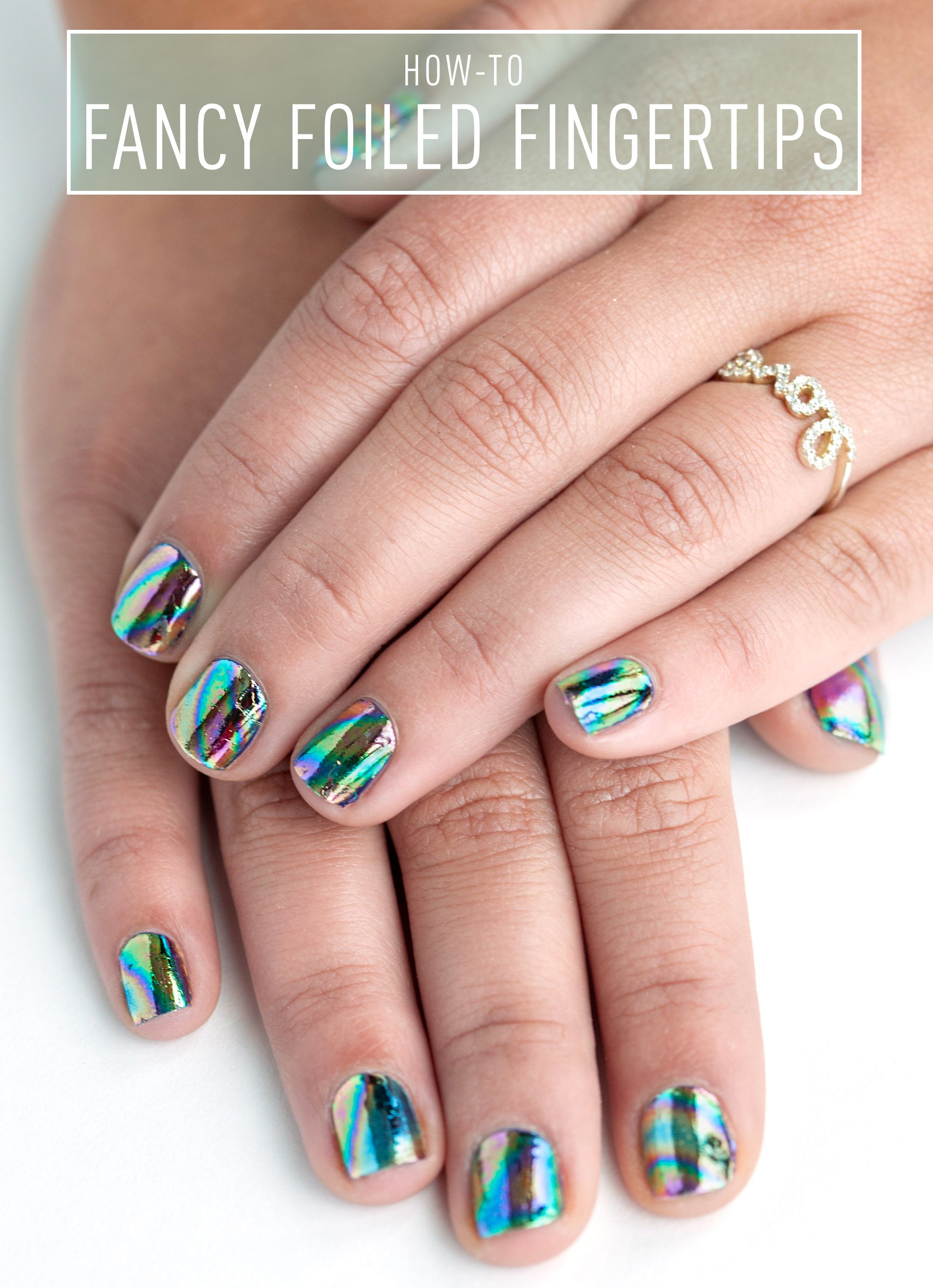 Nail art how to fancy foiled fingertips prinsesfo Images