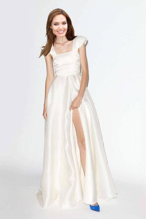 Clothing, Sleeve, Dress, Shoulder, Textile, Standing, White, One-piece garment, Formal wear, Gown,