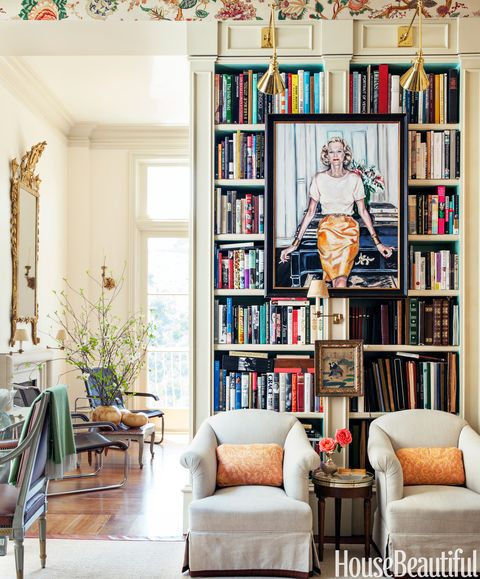 "<p>A Peter Rogers portrait of Alex Hitz's close friend, the late Nan Kempner, hangs in the library of his <a href=""http://www.housebeautiful.com/decorating/house-pictures/alex-hitz-los-angeles-home-1112"" target=""_blank"">Los Angeles house</a>. ""The room doesn't get a lot of light, so I decided to make it cozy and turned it into an English-style portrait room, which is ridiculous, but fun,"" he says.</p>"