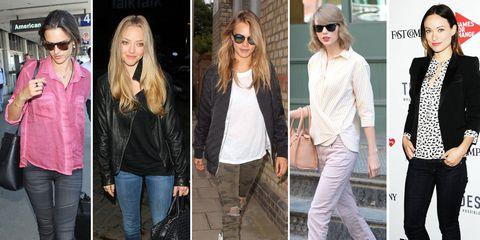 Celebrity denim trends featuring Taylor Swift, Cara Delevingne, Amanda Seyfried, Olivia Wilde, and Alessandra Ambrosio.