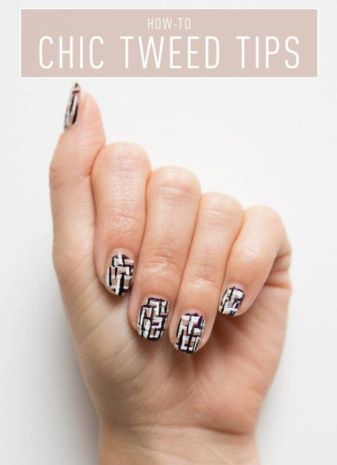 Nail Art How To Chic Tweed Tips
