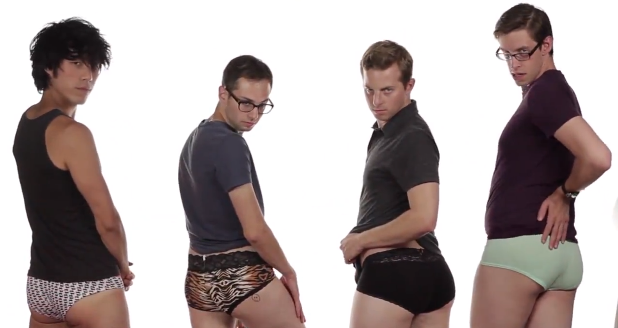 Women trying on panties