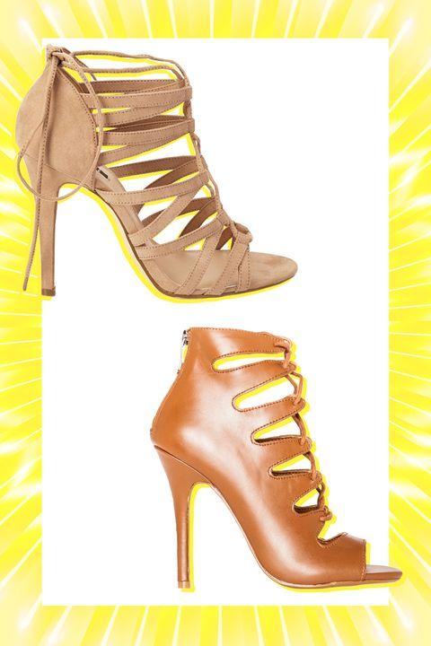 Footwear, Brown, Yellow, High heels, Tan, Sandal, Fashion, Boot, Foot, Beige,