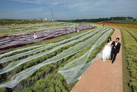 This dress has a 2.5-mile-long train.
