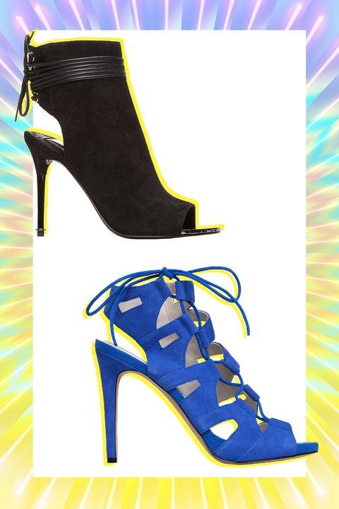 Footwear, Blue, Yellow, High heels, Fashion, Electric blue, Basic pump, Majorelle blue, Artwork, Dancing shoe,
